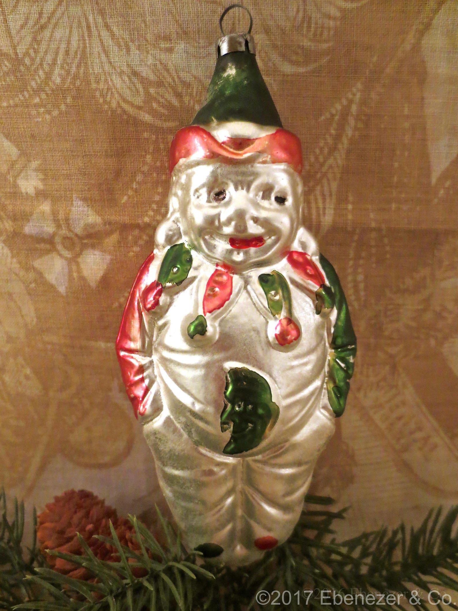 Antique German Blown Glass Clown Christmas Ornament