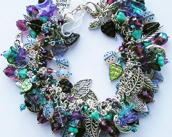 Dolphins Glass /& Crystal Handmade Sandollars Shells Silver Blue Shell Chunky Charm Bracelets Beach Ocean Cha Cha Bracelet Starfish