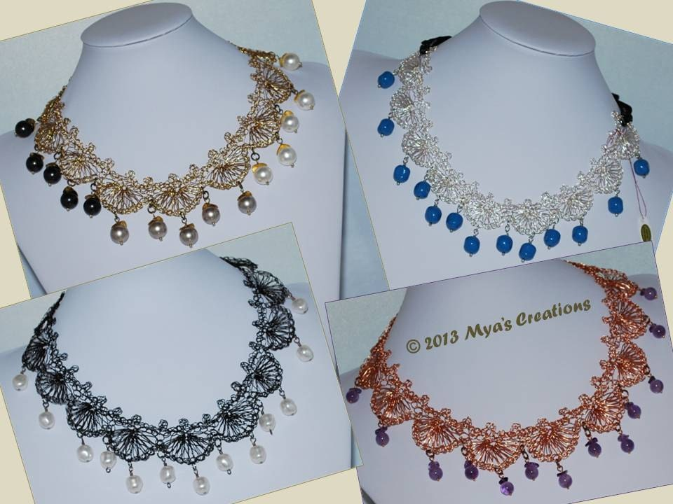 Pdf Crocheted Wire Shell Lace Necklace Tutorial How To Make A Etsy