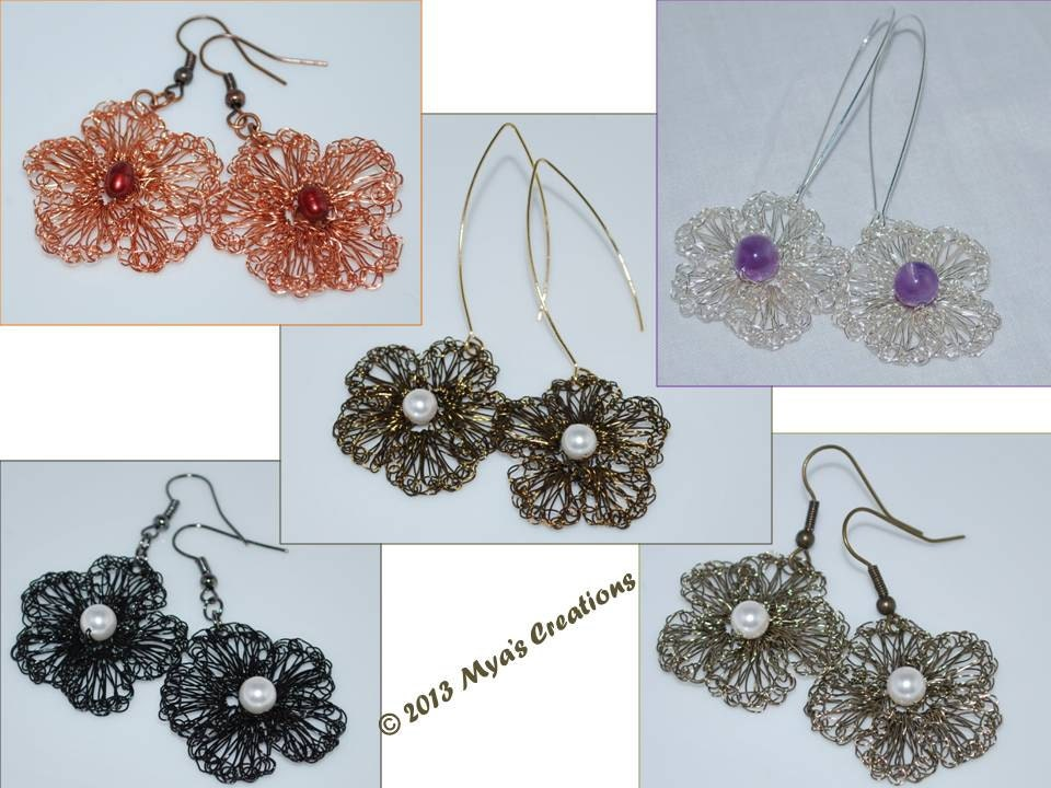 PDF Crocheted Wire Flower Earrings Tutorial How to make a