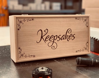 Personalized Keepsake Box 13 3/4 x 7 1/4 x 4, Handmade Wood Storage Box, Custom Engraved Memory Box, Unfinished Wooden Box