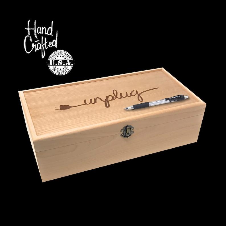 Unplug Box Custom Engraved Personalized Box Family Phone image 0