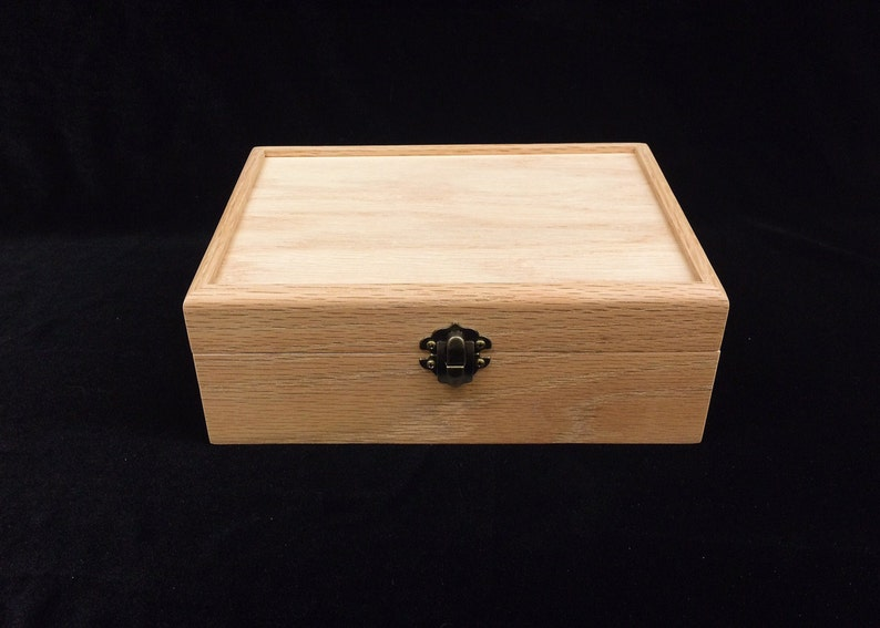 Unfinished Wood Box with Hinges & Latch-8x6x3-unfinished wood image 0