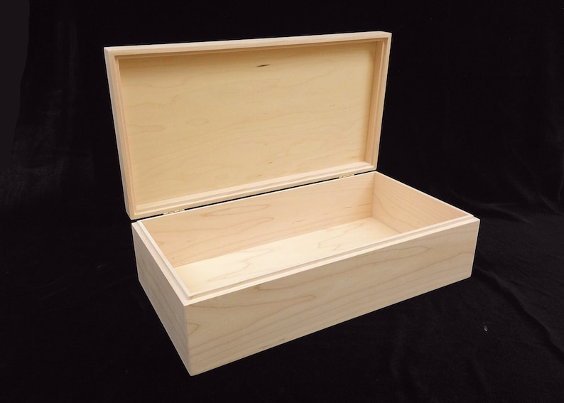 Unfinished Wooden Box with Hinges-13 3/4 x 7 1/4 x 4 image 0