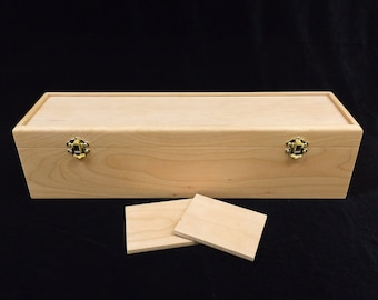 Unfinished Wooden Deck Box with Hinges & Latches - 16 3/4 x 4 1/2 x 4 1/4 - card storage case-protects and organizes