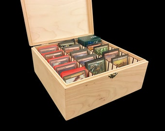 Unfinished Wooden Deck Box with Hinges & Latches-10 1/4 x 10 1/4 x 4 3/4- with adjustable dividers-card storage case-protects and organizes