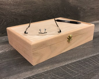 Unfinished Wood Box with Hinges & Latch - 13 x 9 x 3 -  Great for Wood Burning or Resin Pours