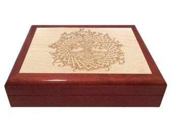 Designcraft Industries Engraved Wooden Box-Custom Engraved Lid,Celtic Tree of Life Box,Keepsake Box,Jewelry Box,Heirloom Quality Box