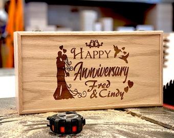 Personalized Happy Anniversary Memory Box 13 3/4 x 7 1/4 x 4, Handmade Wood Storage Box, Custom Engraved Keepsake Box, Unfinished Wooden Box
