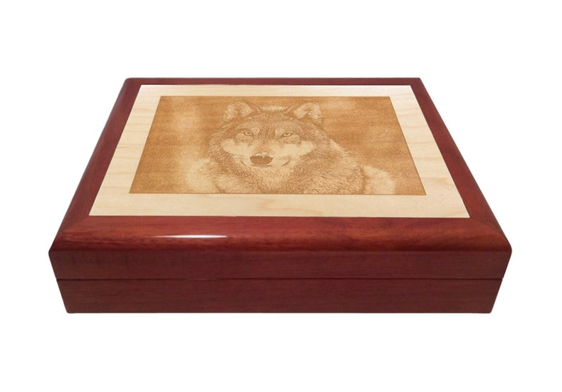 Custom Engraved Wooden Box with Wolf engraving image 0