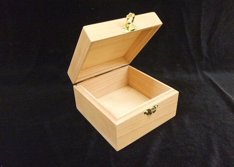 Unfinished Wood Box with Hinges & Latch 5 x 5 x 3 image 0