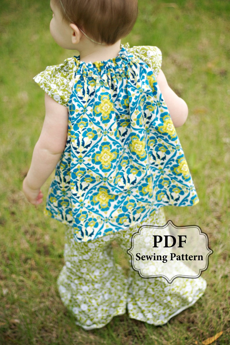 PDF Flutter Top & Dress Sewing Pattern Sizes 3m  girls 9/10 image 0