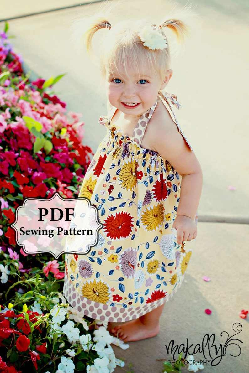 PDF Easy Halter Dress & Top Sewing Pattern Dress Sizes 3m-5T image 0
