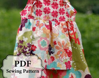 PDF Apron Knot Dress Sewing Pattern Sizes 3 m - Girls 8 INSTANT DOWNLOAD