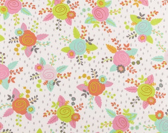 Fitted Crib Sheet Lime Green Pink Gray Teal and Orange Floral  100% Cotton