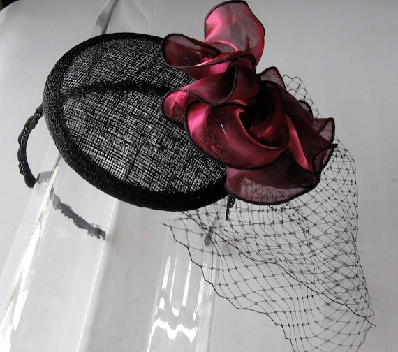 Black Flower Fascinator Hat: Scarlet Red Organza Flower Black Sinamay Fascinator Hat