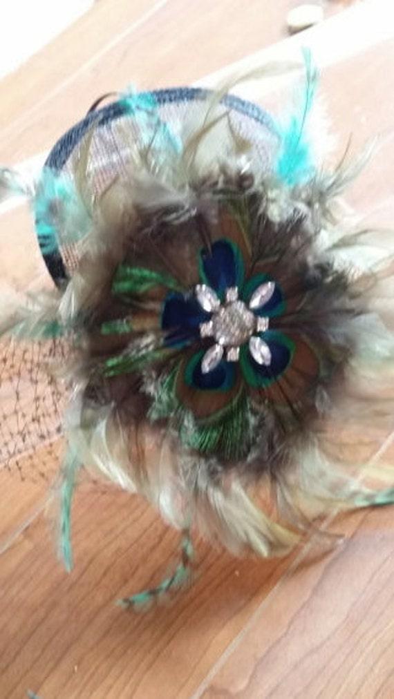 Ladies Day Ascot Flower Feather Sinamay Bijou Headband