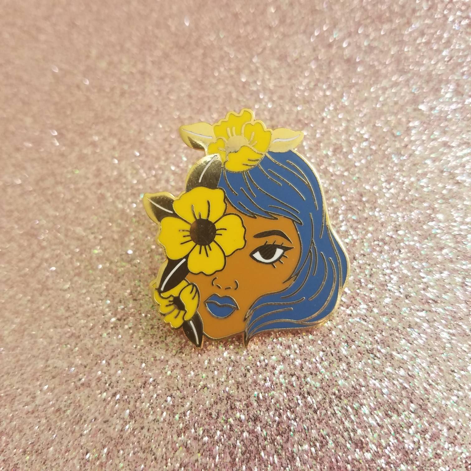 Yellow Flower Girl Pin Etsy