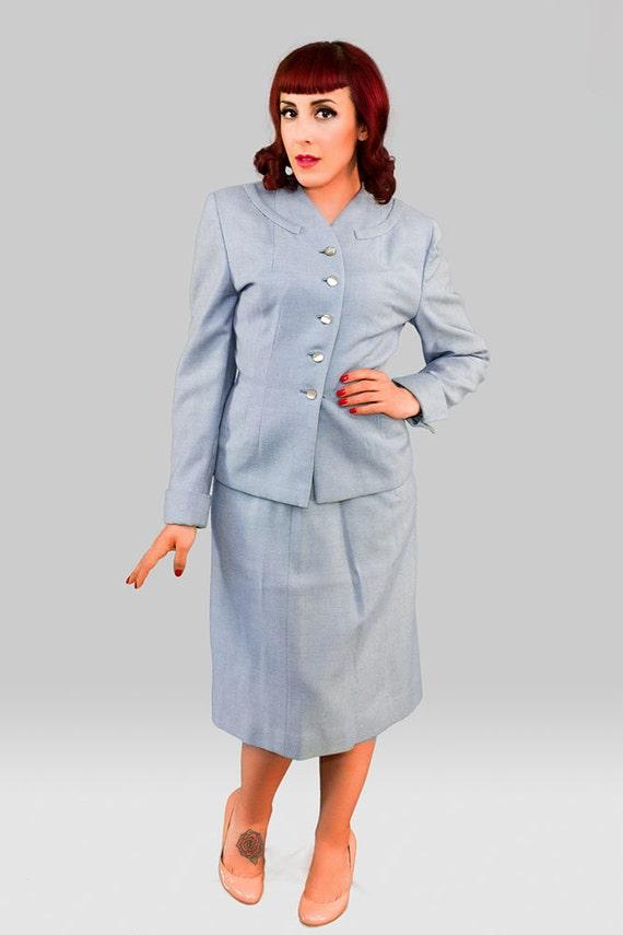 Vintage 1940s Skirt Suit / 40s Three Piece Suit /… - image 3