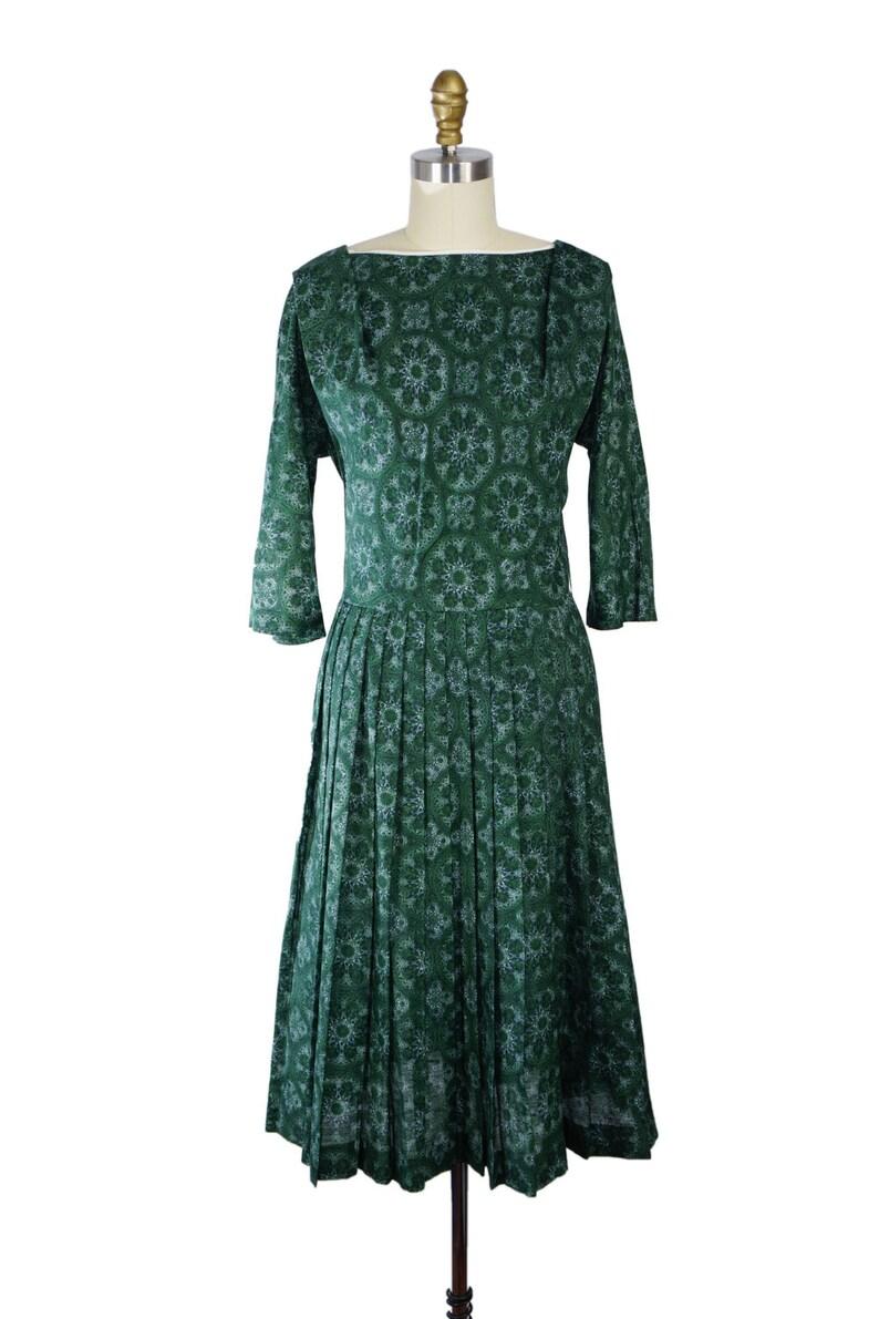 Vintage 1950s Dress / Vintage 1950s Day Dress /  50s Green image 0