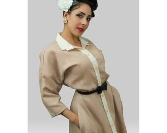 80s Does 50s Dress / Vintage 1950s Style Dress /Full Skirt /  Rockabilly / Pin up Clothing / Viva Las Vegas