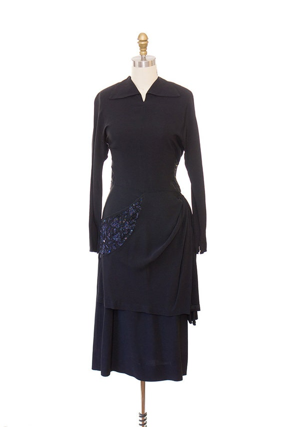 Vintage 1940s Evening Dress / 1940s Black Rayon Dr