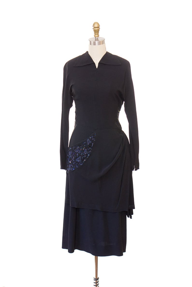 Vintage 1940s Evening Dress / 1940s Black Rayon Dress / 40s image 0
