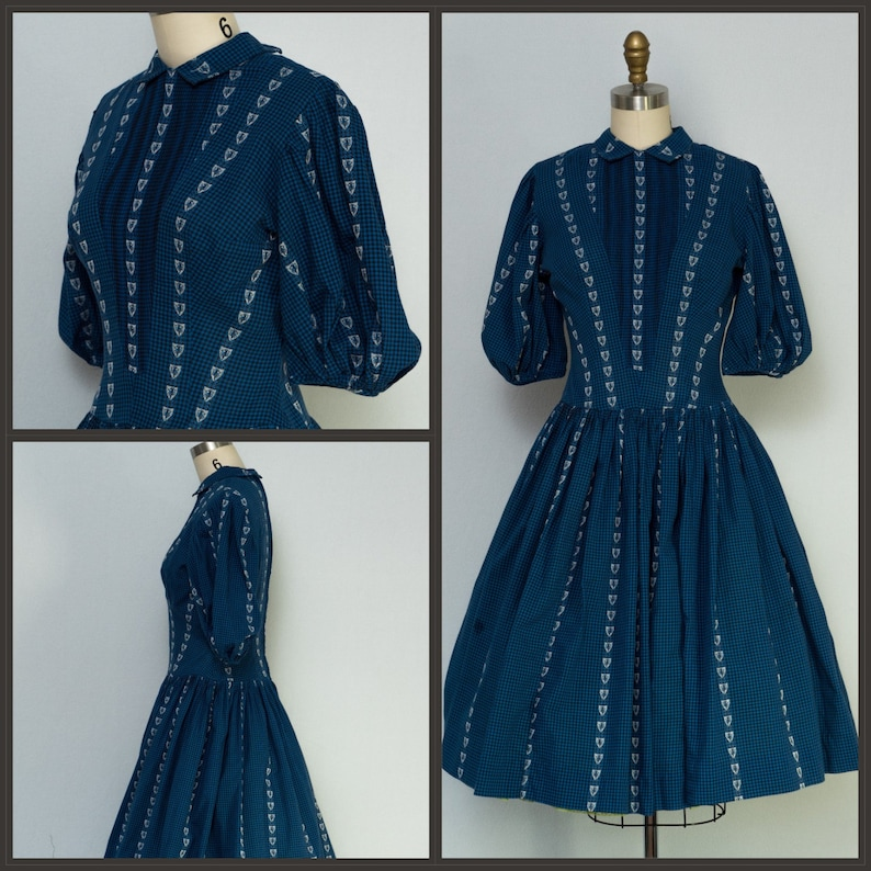 1950s Dress / 50s Dress / Gingham Dress with Embroidery  / image 0