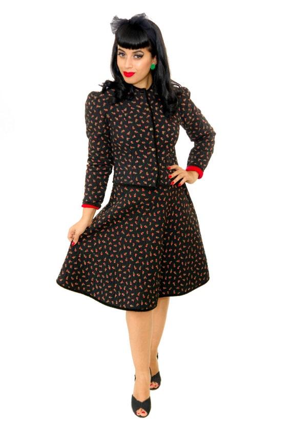 Vintage 1950s Suit /  50s Dress / Vintage 50s Quil
