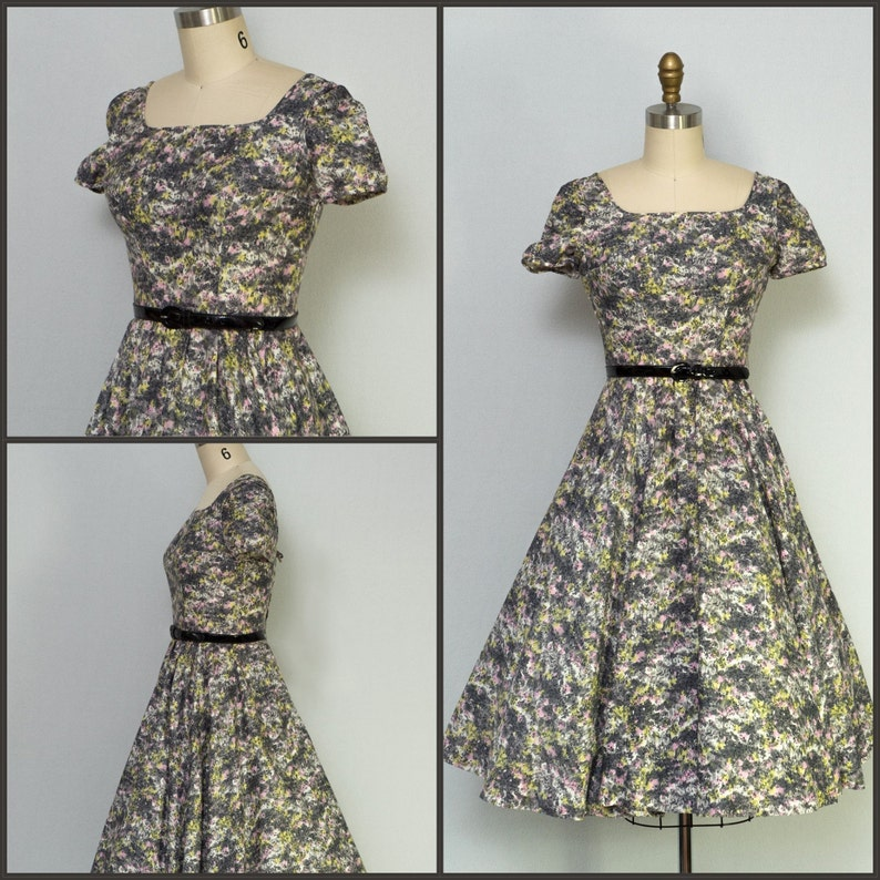 1950s dress / 50s Dress / Vintage floral party dress with full image 0