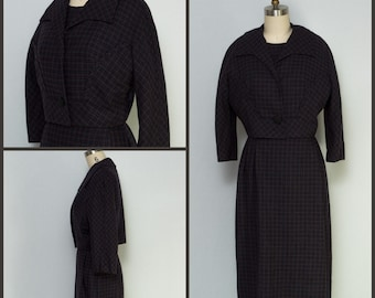 1960s Dress / 1960s Plaid Dress / Dress and Jacket Set / Plaid Wiggle Dress / Tartan Dress