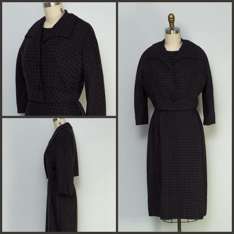 1960s Dress / 1960s Plaid Dress / Dress and Jacket Set / Plaid image 0