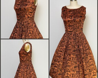 1950s dress / 50s Dress / Vintage Novelty Print Party  dress with full skirt / Pinup Dress / Viva Las Vegas