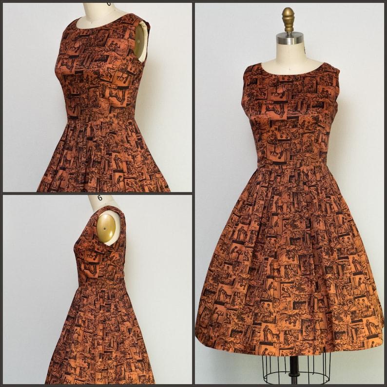 1950s dress / 50s Dress / Vintage Novelty Print Party  dress image 0