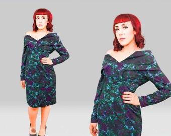 Vintage 1950s Dress /  50s Wiggle Dress  / Vintage 50s Floral Dress / 1950s Knit Wiggle Dress