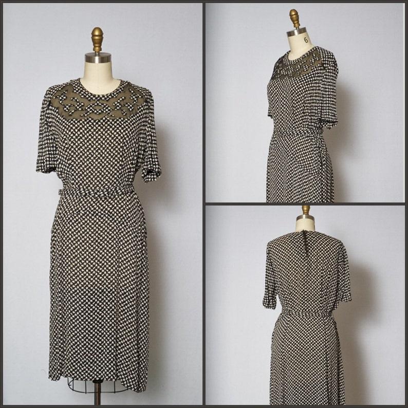 1940s Dress /  40s Novelty Print Dress / Ditsy Novelty Print image 0