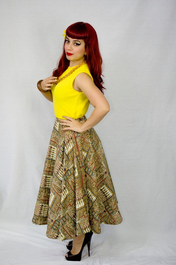 Vintage 1950s Quilted Circle Skirt / Vintage 50s … - image 2