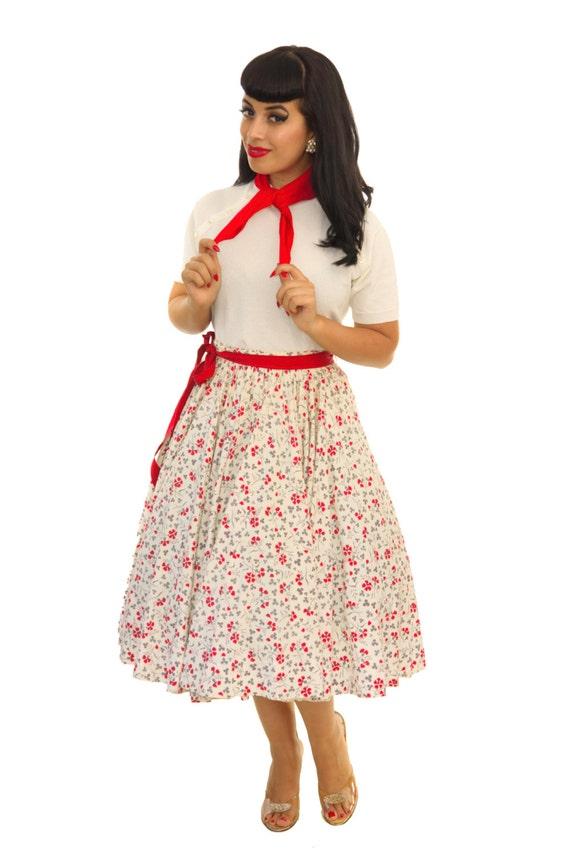 Vintage 1950s Dress /  50s Circle Skirt  / Vintage