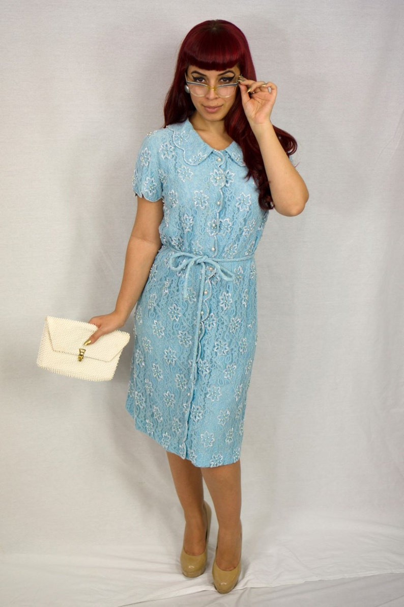 1950s Vintage beaded light blue lace dress image 0