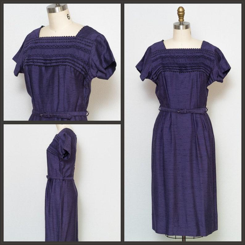 1950s dress / 50s Dress / 60s Dress / Wiggle Dress / Purple image 0