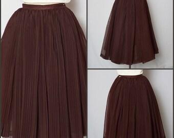 1950s Skirt / 50s Skirt / Pleated Skirt / 1950s Full Skirt / XS Skirt / Vintage Skirt