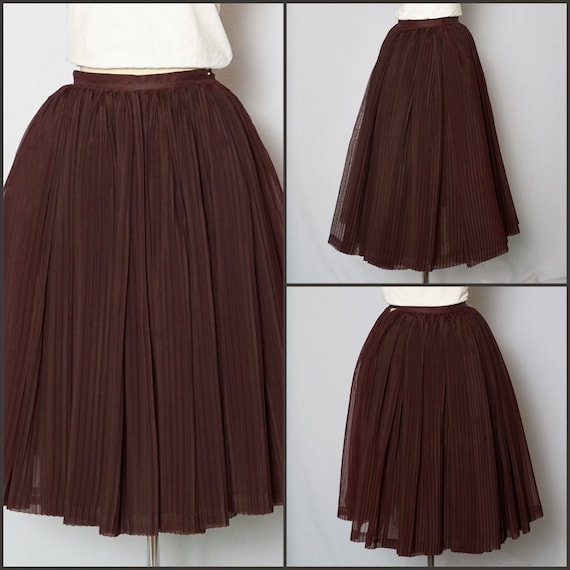 1950s Skirt / 50s Skirt / Pleated Skirt / 1950s Fu
