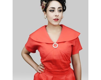 1950s Fashion / Vintage 1950s Dress / 50s Dress / 50s Party Dress / Prom Dress  / Red Dress / Holiday Dress / Pinup Dress / Viva Las Vegas