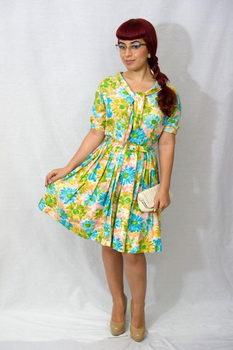 Vintage 1950s Dress / 50s Dress / 1950s Pastel Floral Dress / image 0