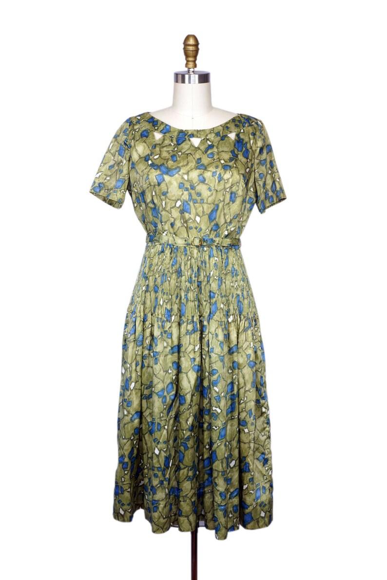 Vintage 1950s Dress /  Vintage 50s Green Dress / 1950s Olive image 0