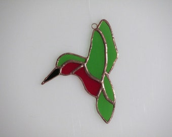 Stained Glass Green and Red Hummingbird