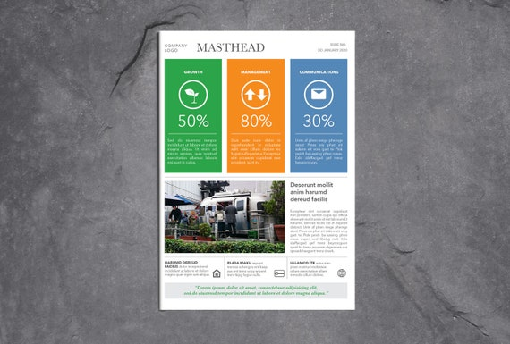 business infographic newsletter template 4pp indesign
