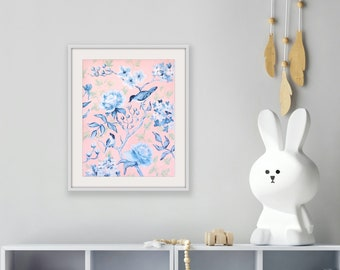 Pink And Blue Chinoiserie, a fine art print on canvas