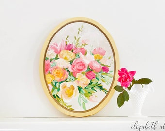 """Oval painting of pink and orange flowers. Original acrylic painting with gold frame. """"Remembered Love"""""""