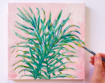 Original palm acrylic painting in green and pink
